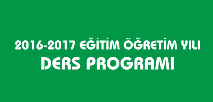 2016-2017 Gençlik İlkokulu/Ortaokulu Ders Programı