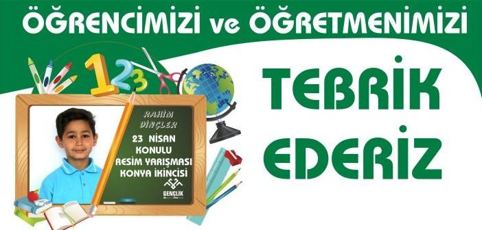 """""""23 Nisan"""" Konulu Resim Yarışması Konya İkinciliği"""