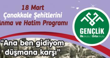 18 Mart Çanakkale Şehitlerini Anma ve Hatim Programı